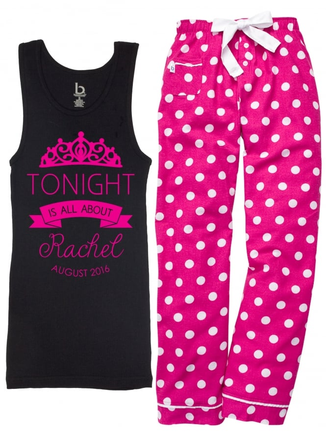 Personalised Tonight Is All About Me Hen Party Pyjamas Black