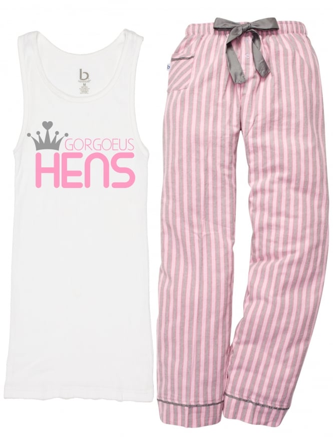 Crown and Candy Stripe 'Gorgeous Hens' Hen Party Pyjamas White