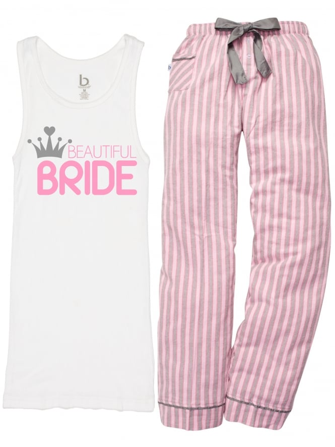 Crown and Candy Stripe Beautiful Bride Hen Party Pyjamas White