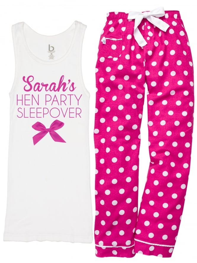 Cute Bow Personalised Hen Party Pyjamas