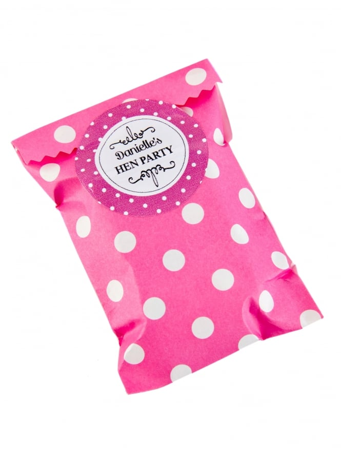 X1 Personalised Hen Party Favour Kit, Dot Mini Bag With Label