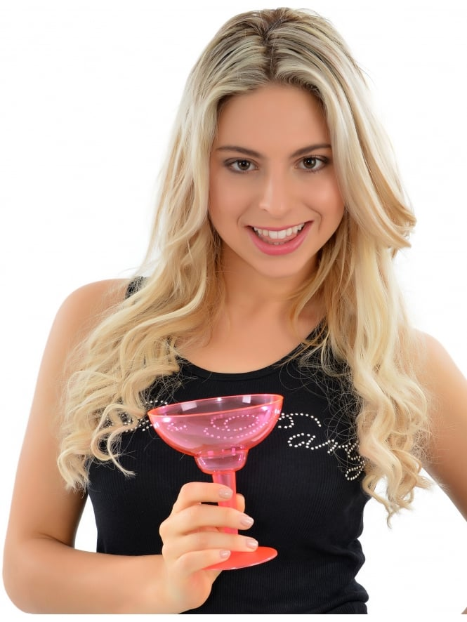 (Pk Of 10) Pink Hen Party Disposable Margarita Glasses