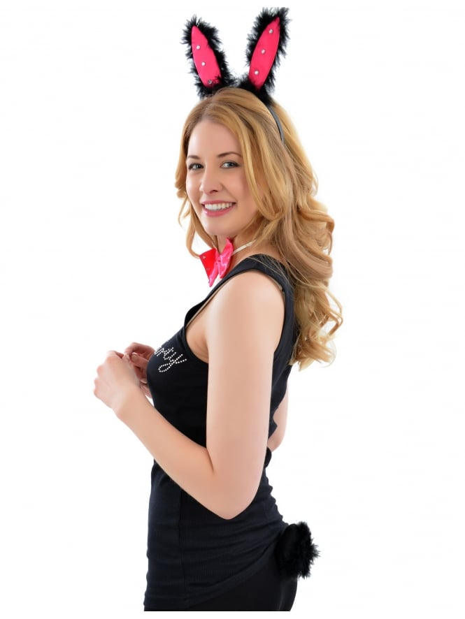 Fancy Dress Hen Night Black/Pink Bunny Girl Set