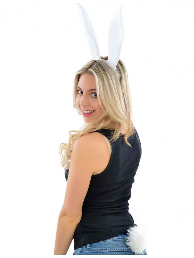 Hen Party Sparkling Fancy Dress White Bunny Girl Set