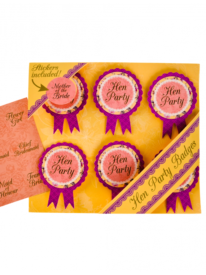 Vintage Hen Party Badges And Stickers