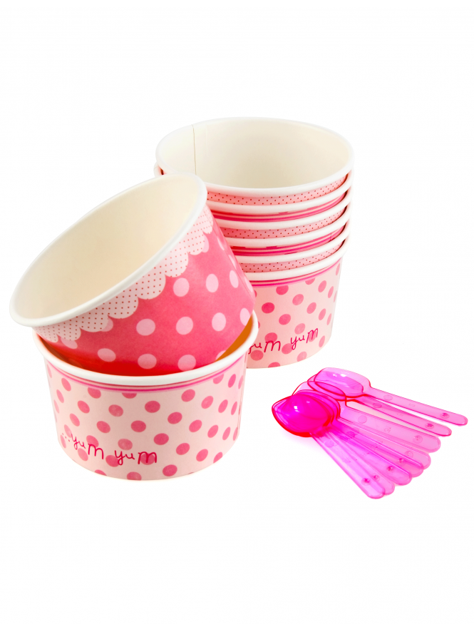 Paper Sweet Bowls With Spoons