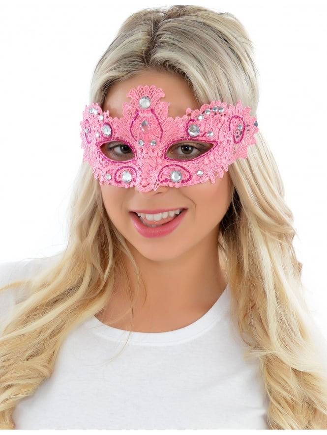 Lace Eyemask With Gems Pink