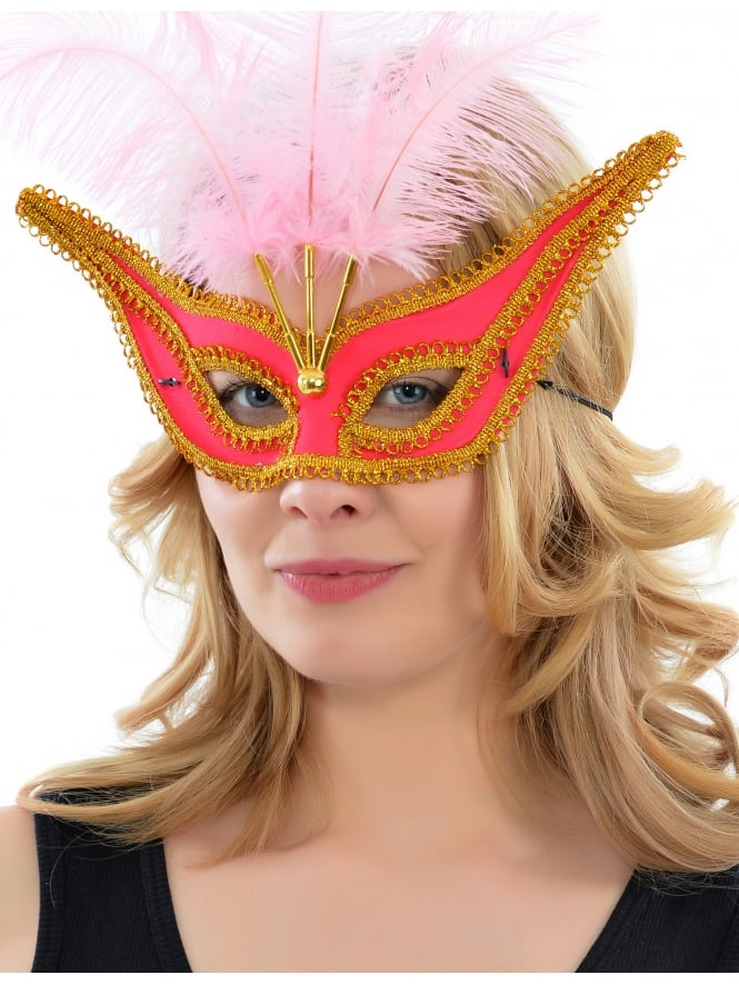 Eye Mask With Trim And Feathers Pink & Gold