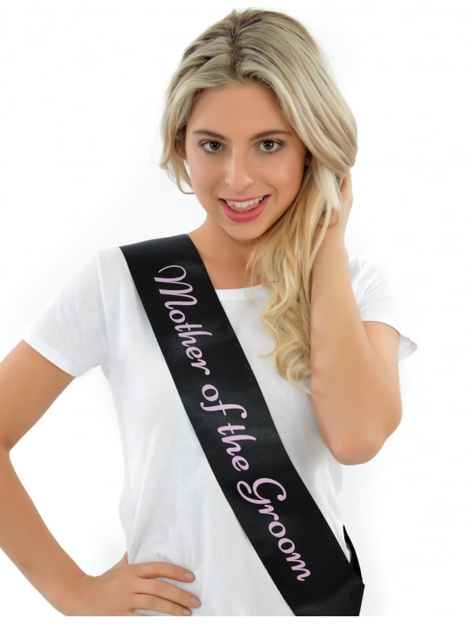 Mother Of The Groom Sash Black With Pink Writing