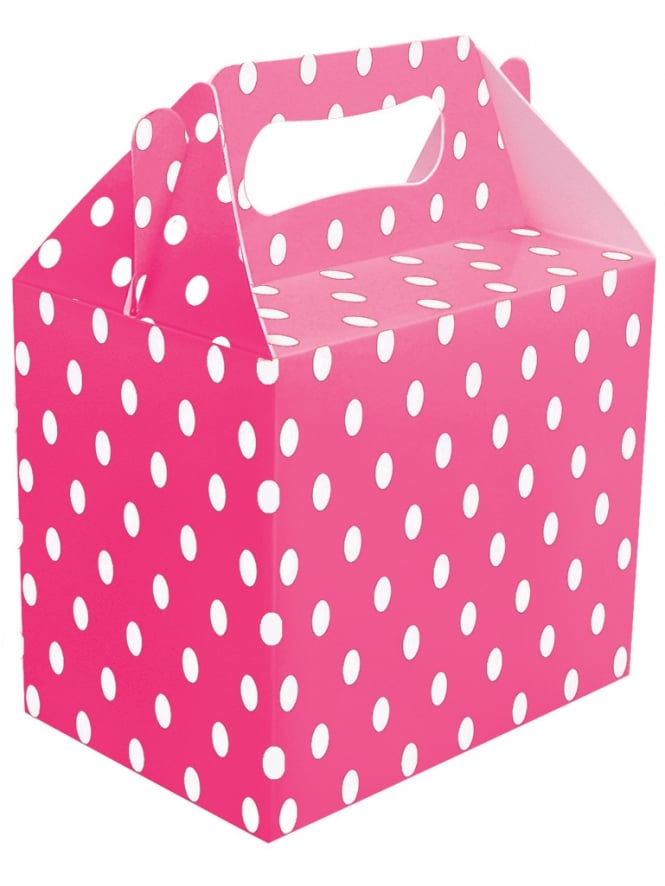 Polka Dot Gift Box Hot Pink & White