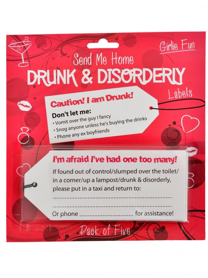 Drunk & Disorderly Labels With Wristband