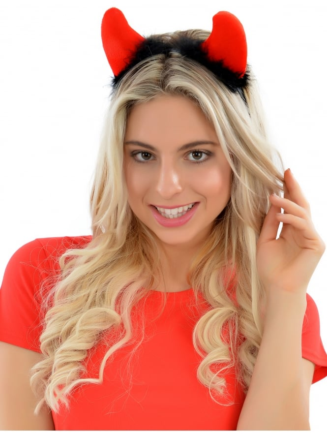 Devil Horns On Headband With Marabou Fur Black & Red