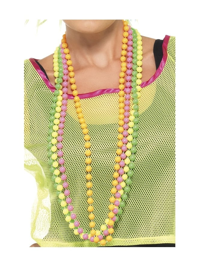 Smiffys Neon Beaded Necklaces (Pack of 4)