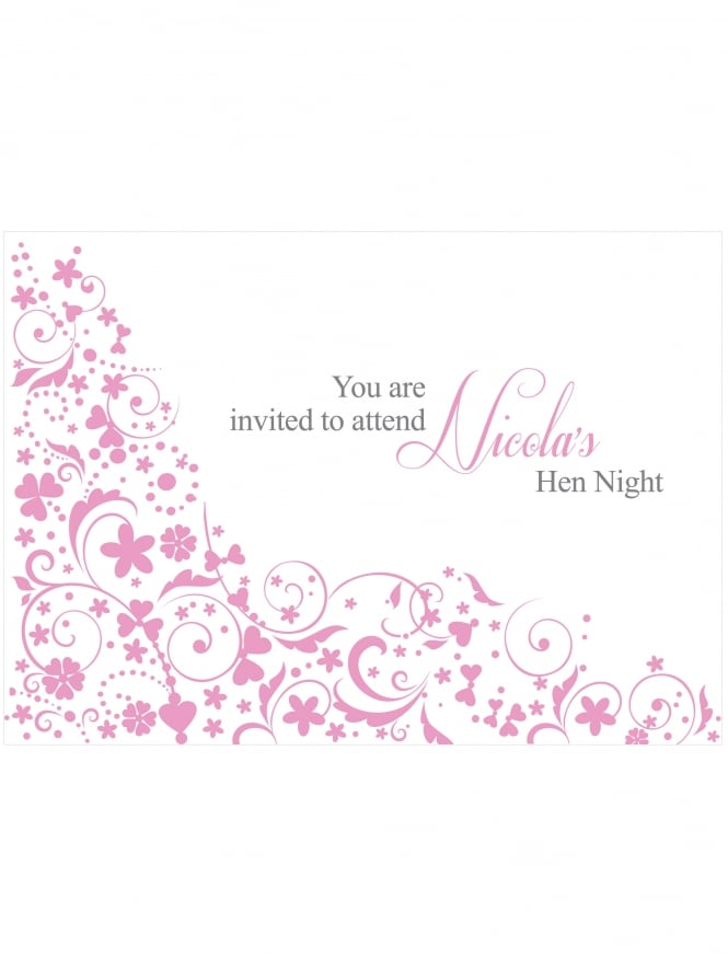 Hen Party Invitation PDF Floral Border Style Front and Back