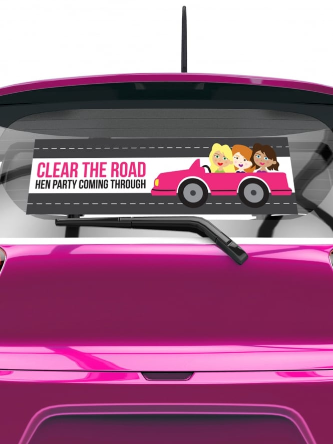 Clear The Road Hen Party Rear Window Car Sticker