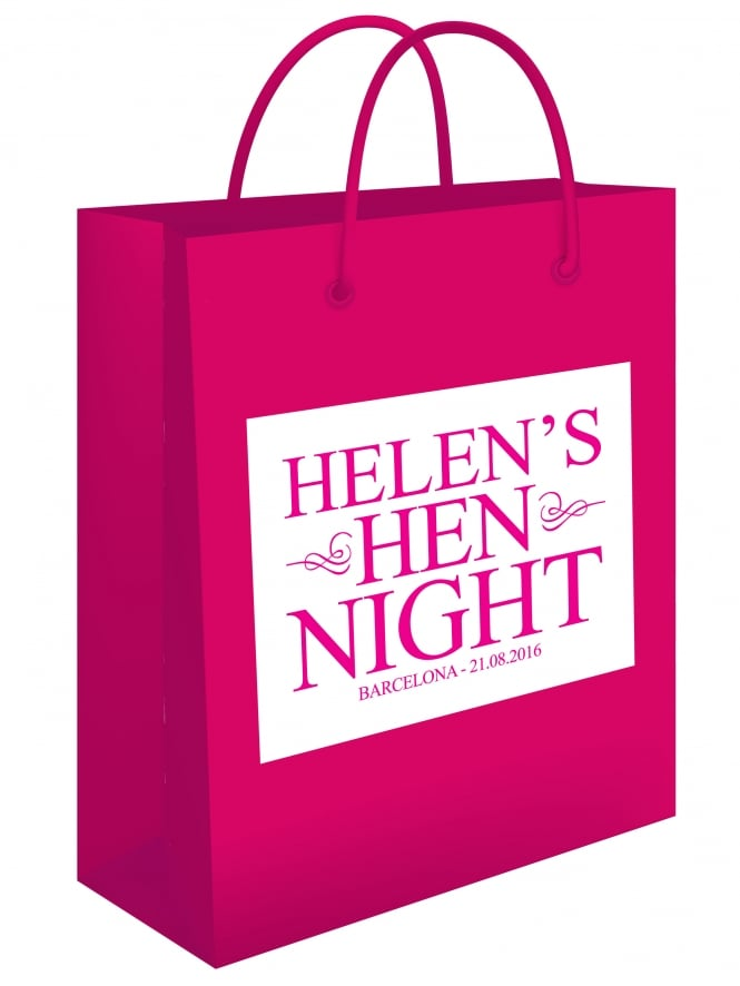 Personalised Hen Night Gift Bag Sticker Supplied Classic Design