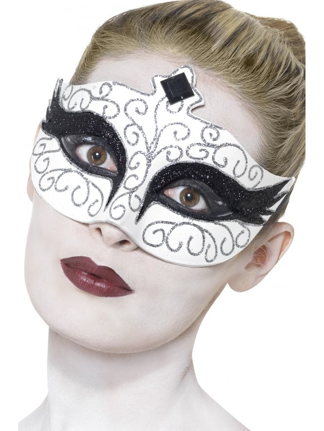 Smiffys Masquerade Mask White and Silver