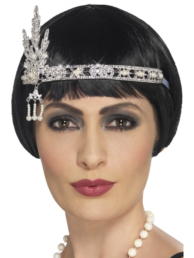 1920s Flapper Silver Jewel Headband
