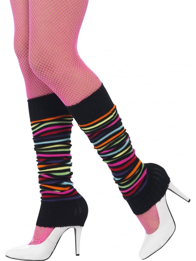 Black Leg Warmers Neon Stripes