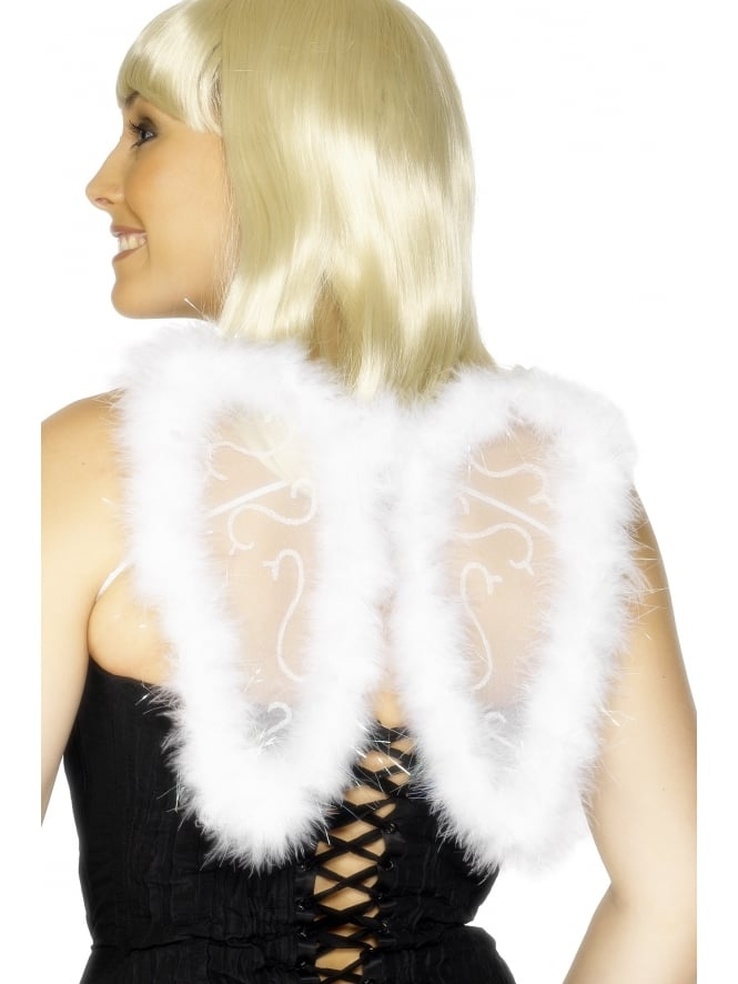 Mini White Glitter Wings