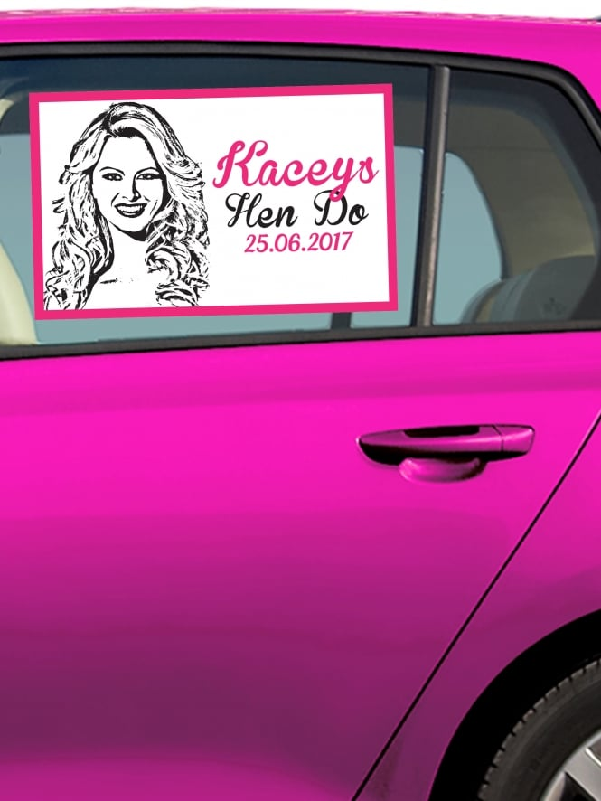 Photo Face Personalised Hen Party Car Window Sticker