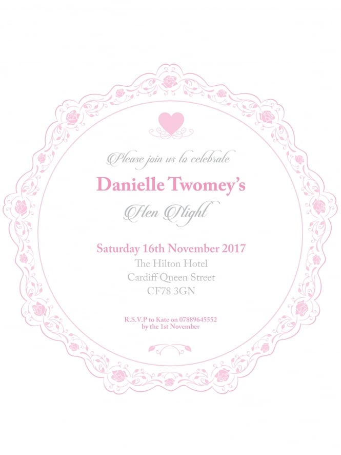 Hen Party Invitation PDF Elegant Floral Border Style