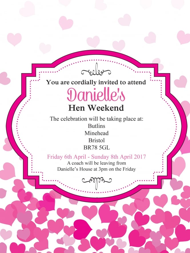 Hen Party Invitation PDF Falling Hearts Style