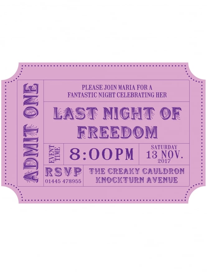 Hen Party Invitation PDF Ticket Style