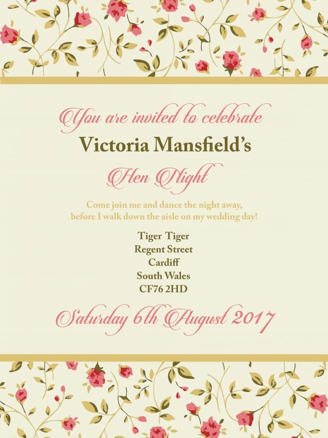 Hen Party Invitation PDF Vintage Style