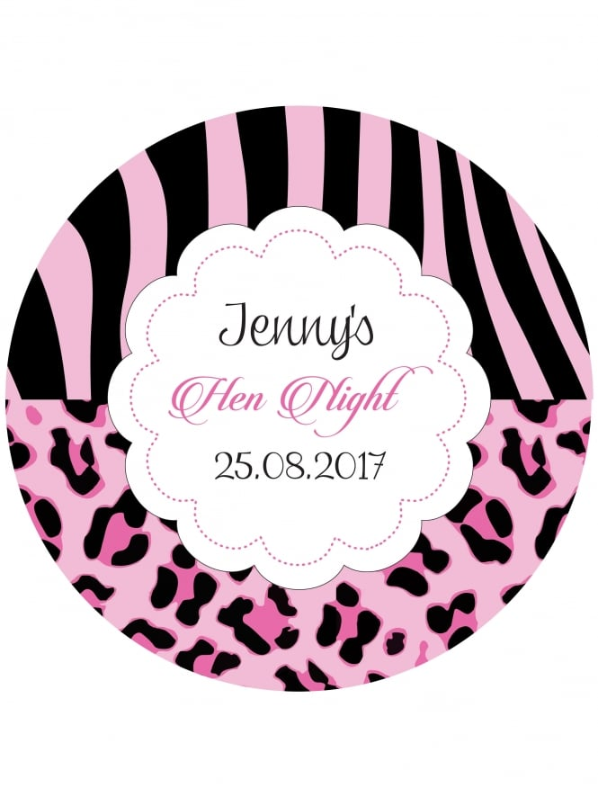 Animal Print Hen Night Stickers Pink (Pack of 10)