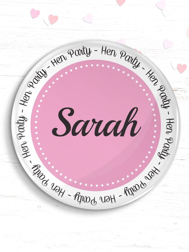 Personalised Pink Circle Hen Party Badge
