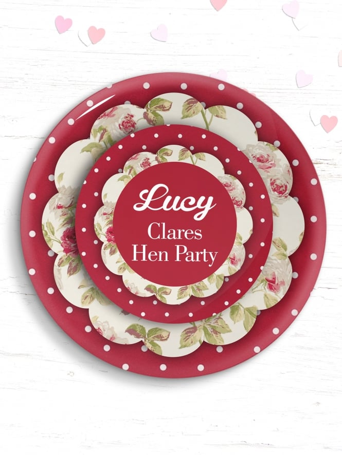 Personalised Red Vintage Hen Party Badge