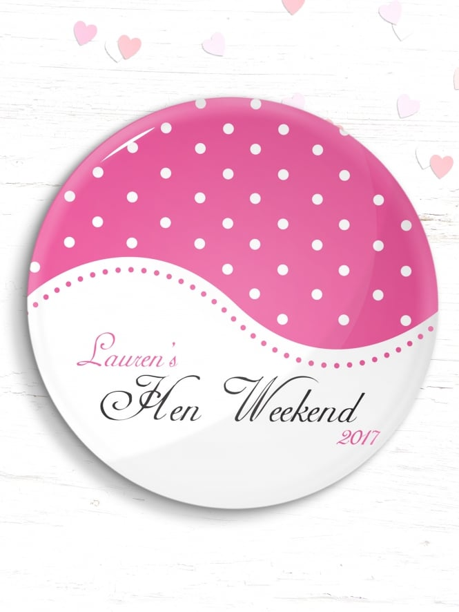 Personalised Pink Polka Dot Hen Party Badge