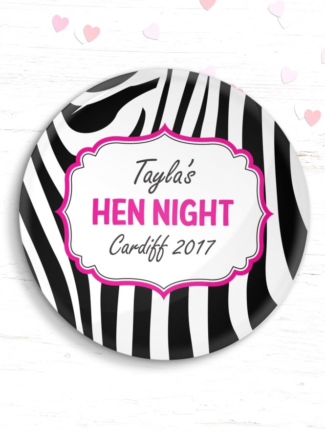 Personalised Zebra Print Hen Party Badge