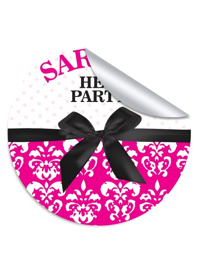Black Bow & Damask Personalised Hen Party Stickers (Pack of 10)