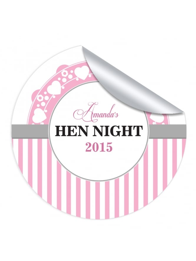 Half Stripe Personalised Hen Night Stickers (Pack of 10)