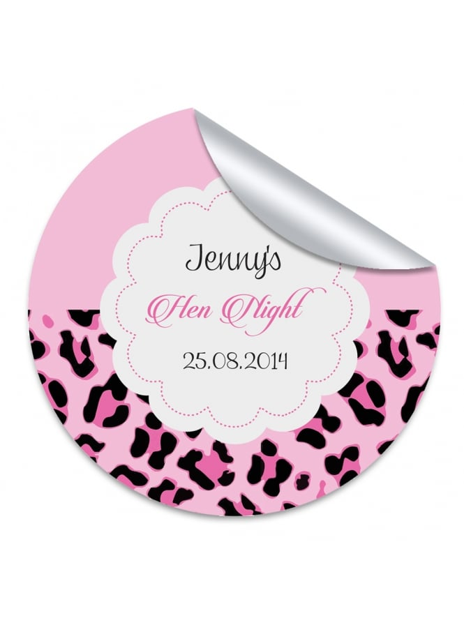 Pink Leopard Personalised Hen Night Stickers (Pack of 10)