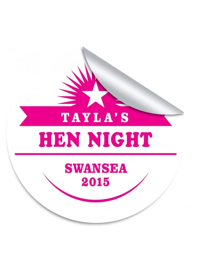 Star Personalised Hen Night Stickers (Pack of 10)