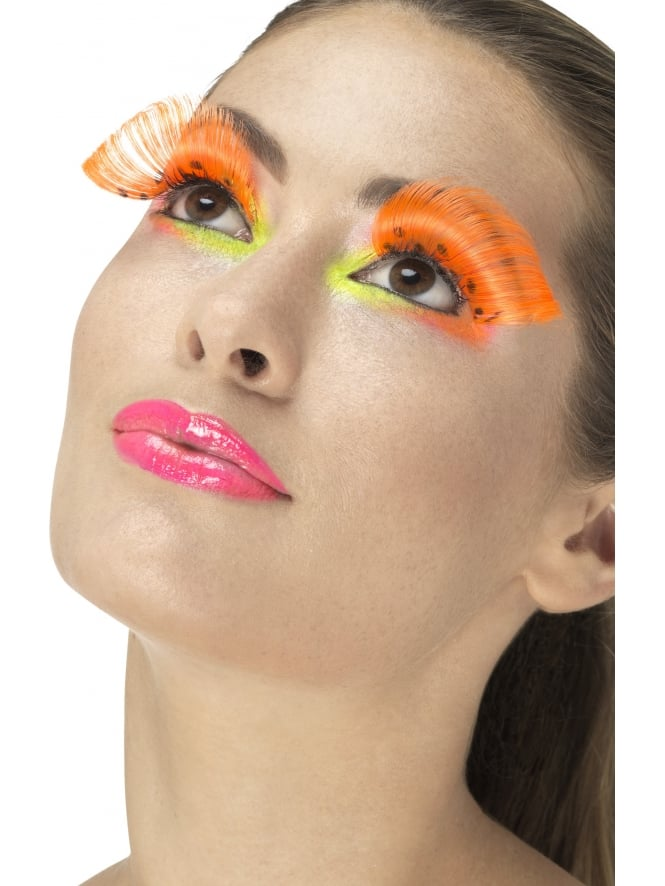 Party Eyelashes Polka Dot Neon Orange contains Glue