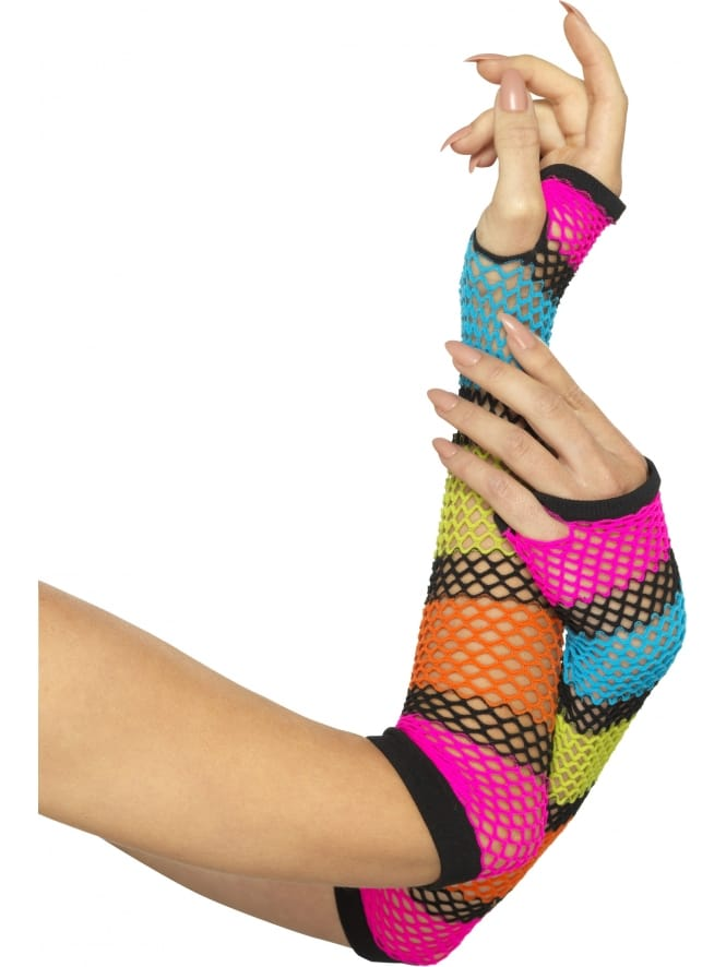 Neon Fishnet Gloves with Black Stripe