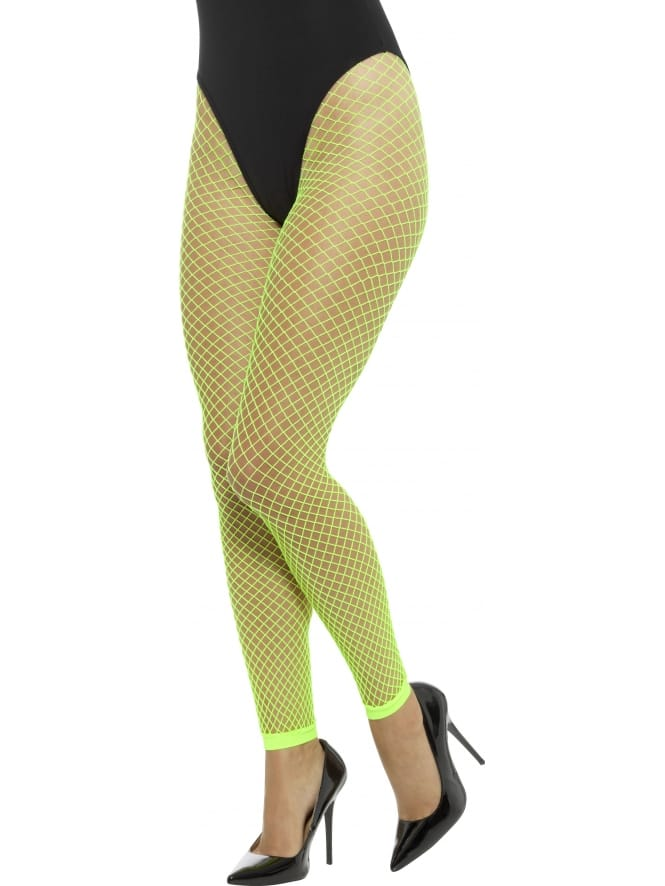 Footless Net Tights Neon Green