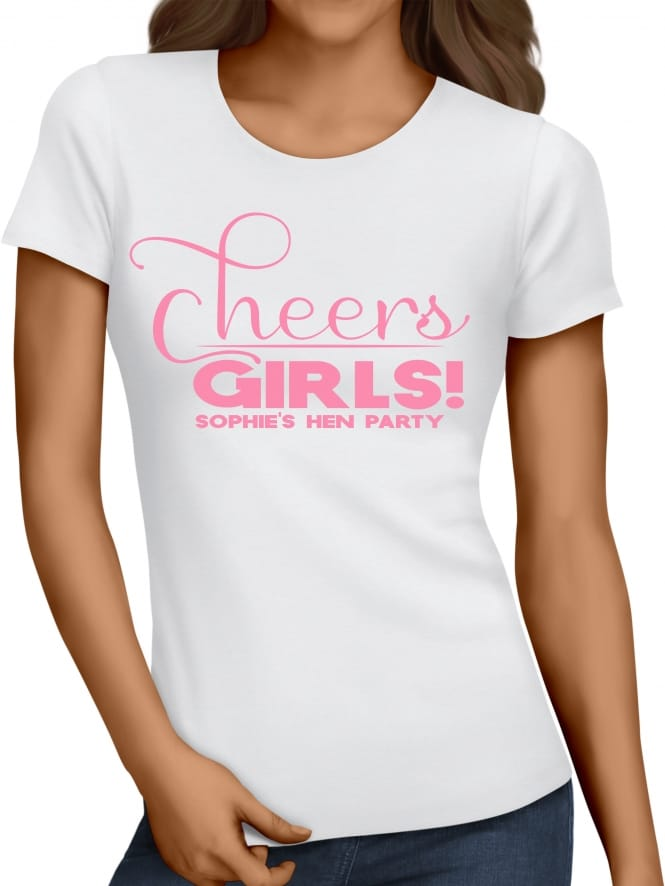 Hen Party Superstore Cheers Girls Personalised Hen Party T-Shirt
