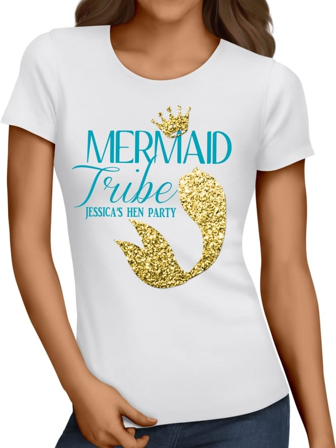 Hen Party Superstore Mermaid Gold Glitter Tail Hen Party T-Shirt
