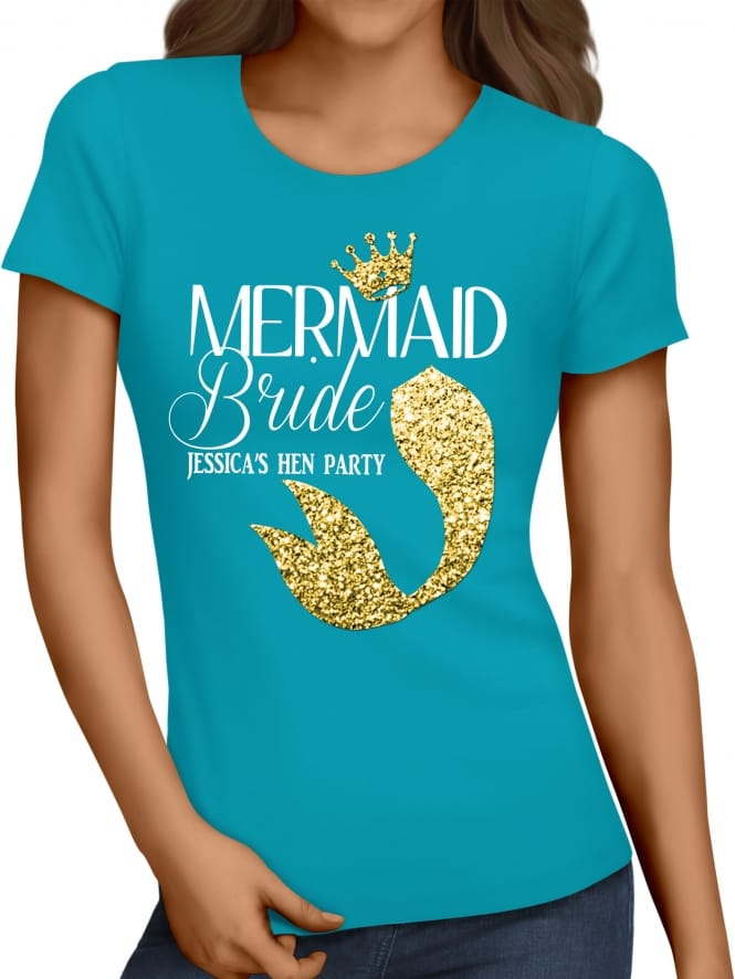 Hen Party Superstore Mermaid Gold Glitter Tail Bride T-Shirt