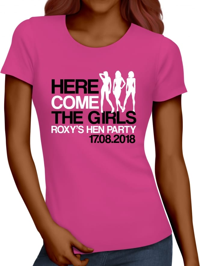 Hen Party Superstore Here Come The Girls Personalised Hen Party T-Shirts