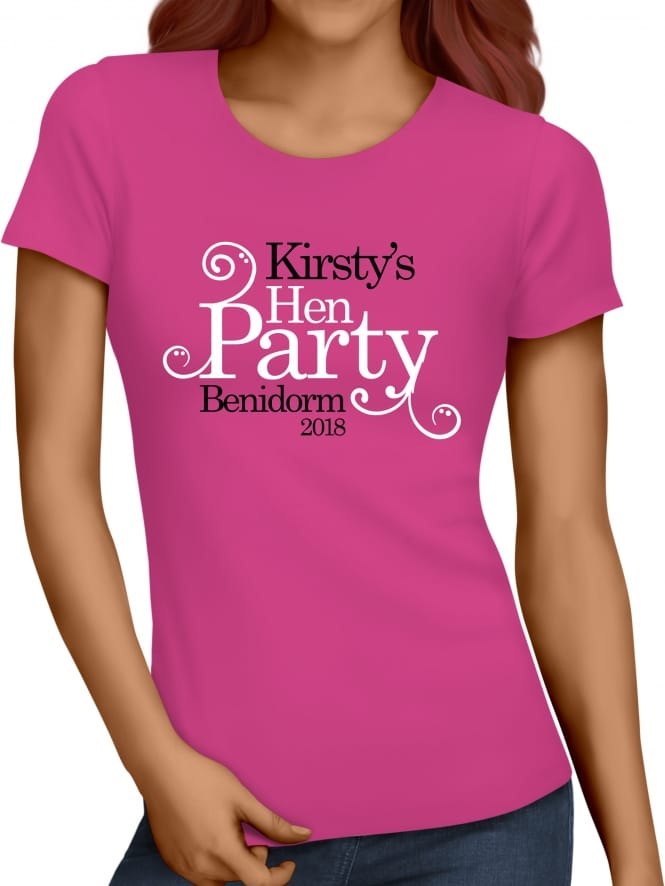 Hen Party Superstore Swirly Style Personalised Hen Party T-Shirts