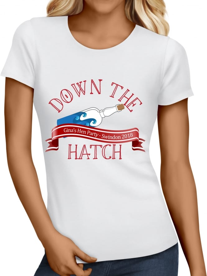 Hen Party Superstore Down The Hatch Personalised Sailor Girl T-Shirt