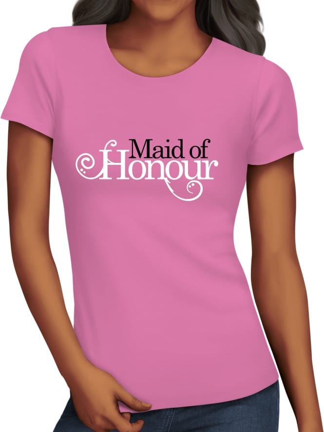 Hen Party Superstore Swirly Style 'Maid of Honour' Hen Party T-Shirts