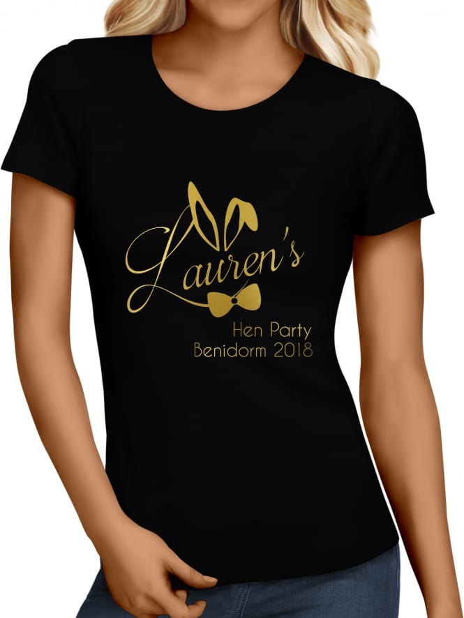 Hen Party Superstore Bunny Girl Metallic Personalised T-Shirt