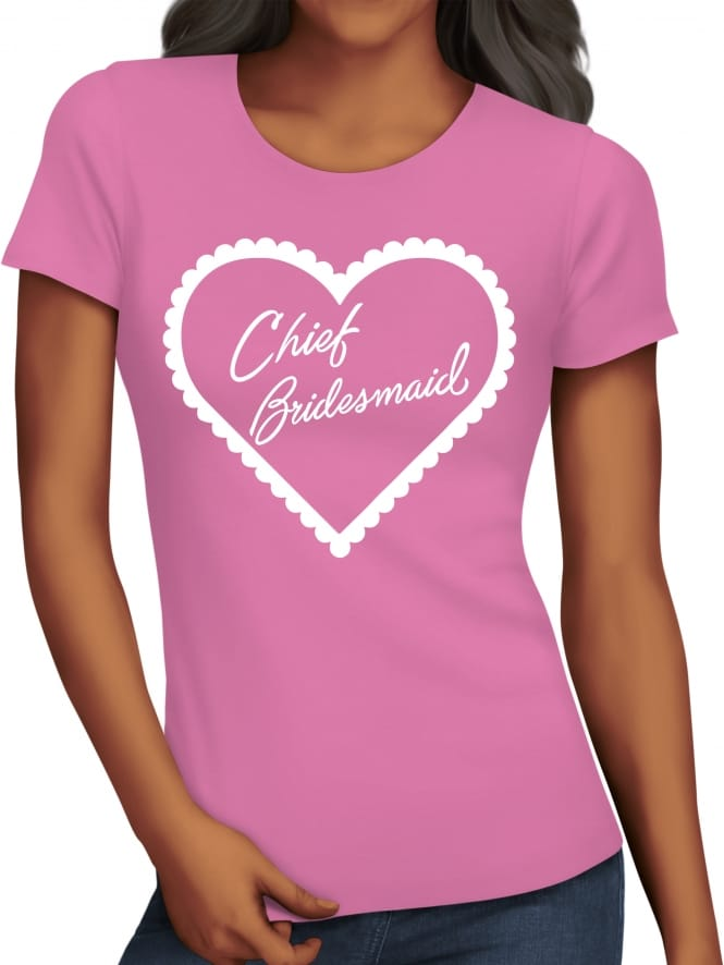Hen Party Superstore Frilly Heart 'Chief Bridesmaid' Hen Party T-Shirts